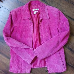 Pink suede zip front jacket S